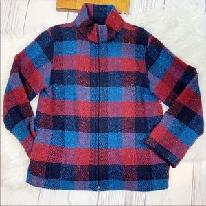 Branigan Weavers Vtg Plaid Full Zip Wool Jacket Md